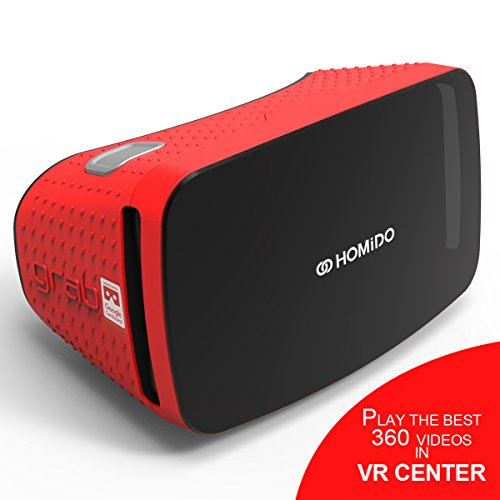 Homido 3D VR glass with VR Lens Homido Grab Virtual Reality Headset for VR Games and 3D Movie for ISO and Andriod Compatiable with 4.5'-5.7' Inch Screen google cardboard (Red) VR EDUCATION