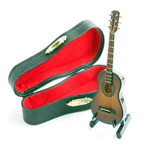 [해외]미니츄어 악기 음향 기타 솔리드 헤드 기타 케이스 스탠드 부속 (브라운) / Miniature Instrument Acoustic Guitar Solid Head Guitar Case Stand Included (Brown)