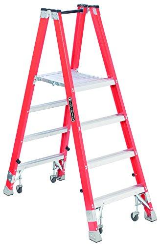 Louisville FMP1504-4C Fiberglass Platform Ladder with Cas...