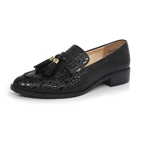 Low Slip - DUNION Women's Bertha Comfortable Tassel Slip Low Heels Almond Toe Casual Penny Loafers,Bertha Black Stone,10 M US