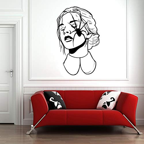 Vinyl Sticker Girl Wonam Spider Face Scary Halloween Mural Decal Wall Art Decor EH2220