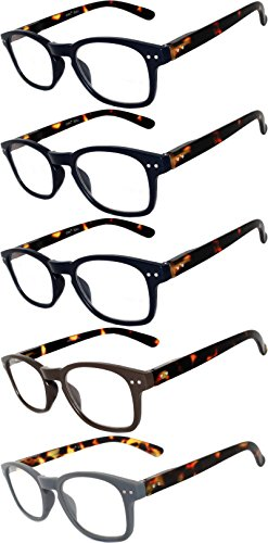 Readers 5 Pack of Elegant Womens Mens Reading Glasses with Beautiful Patterns for Ladies and Gentlemens Deluxe Spring Hinge Stylish Look 180 Day Guarantee - Line On Designer Glasses