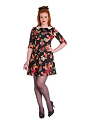 Hell Bunny Hermeline Vintage Retro 60s Style Animal Fox Print Tea Dress