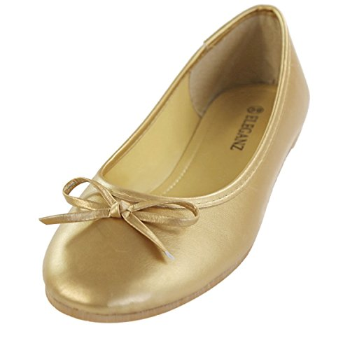 Maybest Womens Bow Dolly Flat Shoes Slippers Ballerina Ballet Pumps Flats Gold x9BcSo3gwP