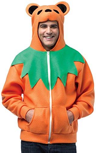 Grateful Dead Orange Bear Adult Costumes - Orange Grateful Dead Dancing Bear Hoodie Size:Large/Xlarge