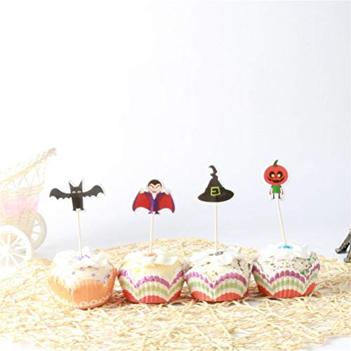 Cake Decorating Supplies - Halloween Cake Cupcake Pers Picks Party Decoration Vampire Bat Pumpkin Witch Hat 24pcs Set - Letters Innovations Storage Round Mermaid Leaf Printer Kids Bottles -