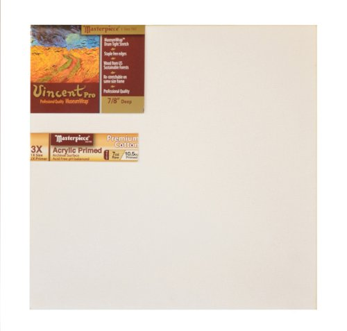"UPC 718162410178, Masterpiece Vincent PRO 7/8"" Deep, 8 x 8 Inch, Monterey 7oz Acrylic Primed Cotton Canvas"