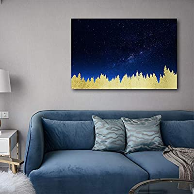 Canvas Print Wall Art - Golden Forest Under The Milk Way at Night - Gallery Wrap Modern Home Art | Ready to Hang - 12