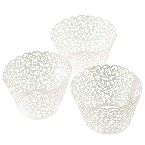 100 pcs Little Vine Cake Mold Lace Laser Cut Cupcake Muffin Wrapper Liner Baking Cup ()
