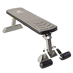 Flat Upholstered Exercise Bench with Leg Bar for Added Support (SB-10500). 48 L x19 H x 8 W - Assembly Required
