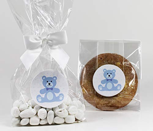 (Blue Teddy Bear Baby Boy Shower Treat Party Favor Bag Set with Stickers & Twist-Tie Satin Bows. Set of 10 Clear Cellophane Goodie Gift Bags, Bows and Stickers. Blue, White,)