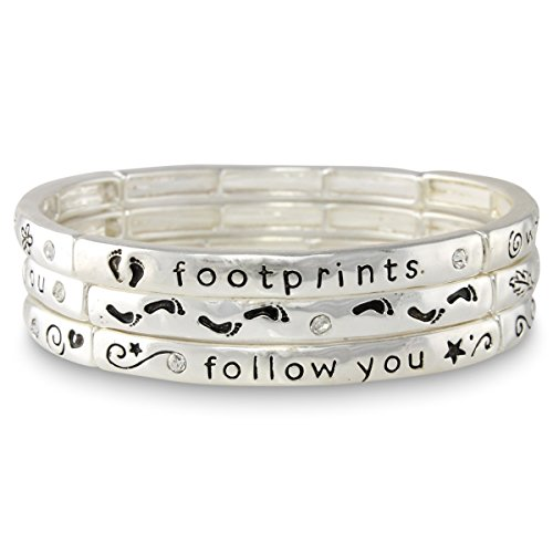 Silver Tone Religious Footprints Script Stacking Three Stretch Bracelet Set