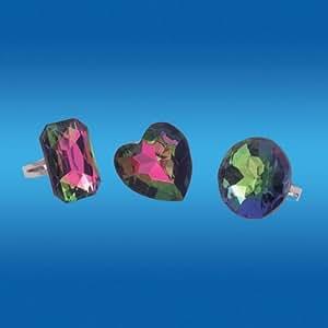 """Anillos grandes piedras preciosas de imitación """"arco iris"""" de color (Set de 3)"""