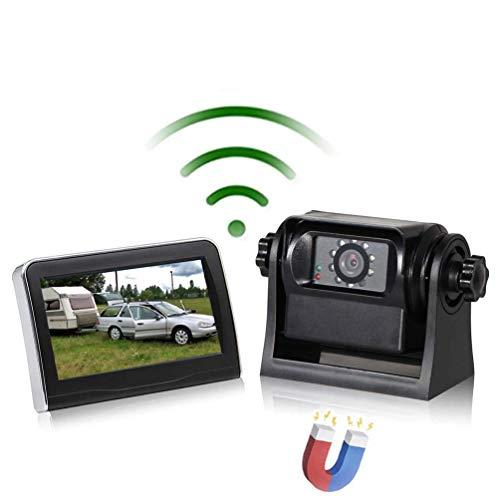 RED WOLF Autokamera Rückfahrkamera Set drahtlos Kabellos Funk Rückfahrkamera + 4,3 Zoll LCD 12V Monitor WiFi Magnetische…