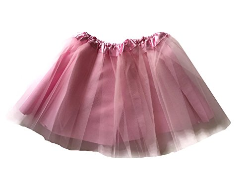 Rush Dance Girls' Classic Ballerina 3 Layers Tulle Tutu Skirt with Satin Lining (Kids (3-8 Years Old), Light Pink) -
