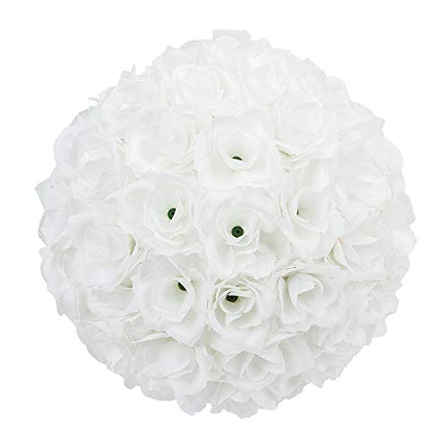 Tuweep Pure White 25cm Flower Ball Bridal Favor Ball Rose Silk Wedding Decoration US by Tuweep