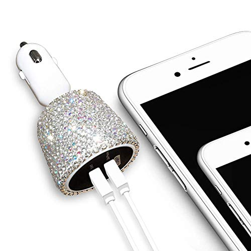 eing Dual USB Car Charger Crystal Car Decorations with Bling Bling Rhinestones for Fast Charging Car Decors for iPhone,iPad Pro/Air 2/Mini,Samsung Galaxy Note9/8/S9/S9+,LG,Nexus,HTC and More,Silver