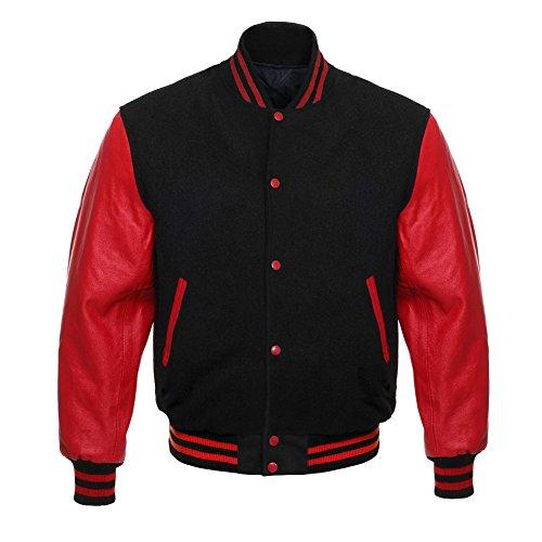 Design Custom Jackets Letterman Baseball Varsity Jacket Red Leather Sleeves (L, Black)