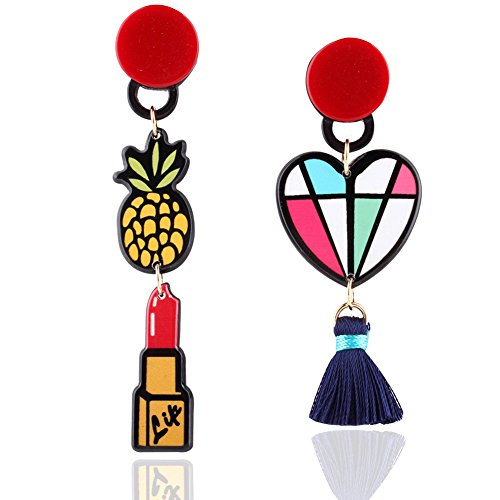 ipstick Asymmetrical Heart Shaped Long Tassel Stud Earrings Acrylic Stud Dangles for Womens ()