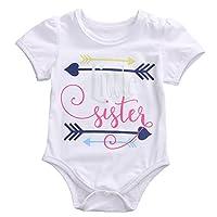 Newborn Baby Girls Little Sister Print Arrows Pattern Romper Bodysuit Outfits...