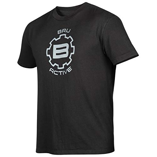- BRU Active Premium Hiking, Kayaking, Outdoor & Surf Tee Shirt for Men - Relaxed Fit Graphic Sports Surfing T Shirt (Large, Black Chest Logo)