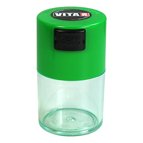 Vitavac - 5g to 20 grams Airtight Multi-Use Vacuum Seal Portable Storage Container for Dry Goods, Food, and Herbs - Green Cap & Clear Body