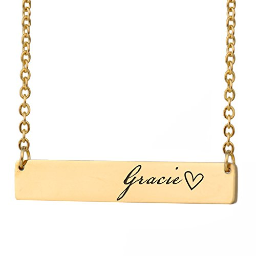 HUAN XUN Gracie Name Name Personalized Necklace Bar Initial Necklace Personal Jewelry Birthday Valentine Gift
