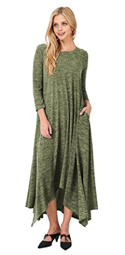 Tabeez Women's Asymmetrical Long Heathered Sweater Maxi Dress (Large, - Olive Green Heathered