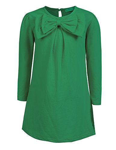 (Arshiner Kids Girl O-Neck Long Sleeve Solid Bow-tie Dress, Green, 120(Age for)