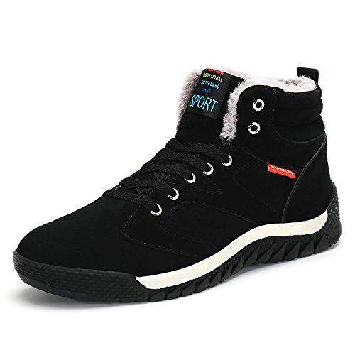 Stivali Invernali Da Uomo Alto Top Foderato In Pelliccia Calda Stivali Da  Trekking Moda Sneaker Nero. scarpe ... 13de3fda385