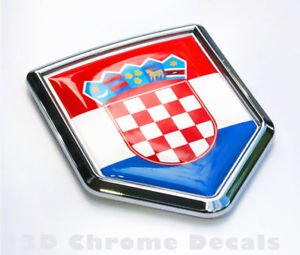 Croatia Flag Croatian Emblem Chrome Car Decal Sticker 3D badge