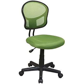 Office Star Mesh Back Armless Task Chair with Padded Fabric Seat, Green