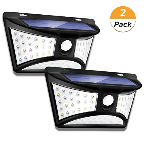 Outdoor Solar Motion Sensor Wall Light 2 Pack, 68 LED IP65 Waterproof Wireless Night Security Light with 270 Wide Illumination Angle for Front Door,Yard,Garage,Garden,Stairs,Pathway