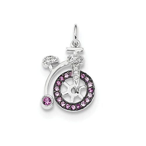 14k White Gold Diamond Pink Sapphire Bicycle Pendant Charm Necklace Gemstone Fine Jewelry For Women Gift Set