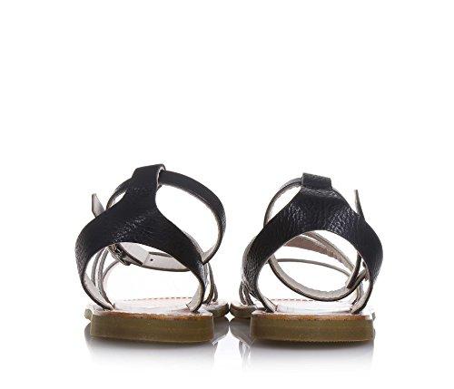 PÈPÈ - Sandale blanche et noire en cuir, made in Italy, fille