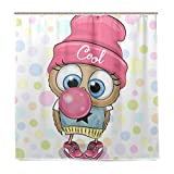 TrisMar Cute Owl with Bubble Gum Pink Shower Curtain Mildew Resistant Fabric Shower Curtain Waterproof/Water-Repellent with Rustproof Metal Grommets for Bathroom Showers and Bathtubs-72x72 inches
