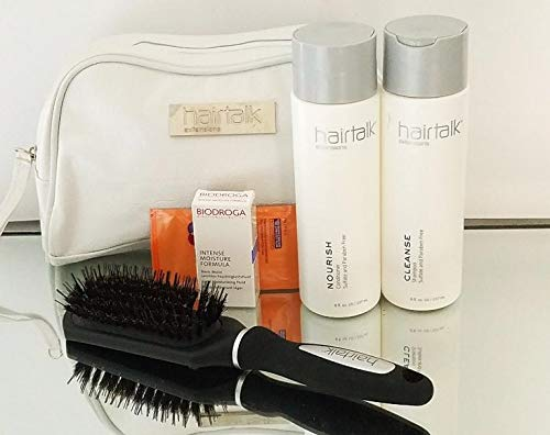 Hairtalk Extensions SET: CLEANSE Shampoo 8oz & NOURISH Conditioner 8oz (Sulfate & Paraben Free) + FREE Bag, Brush, Hair & Skin Care Samples by Hairtalk Extensions