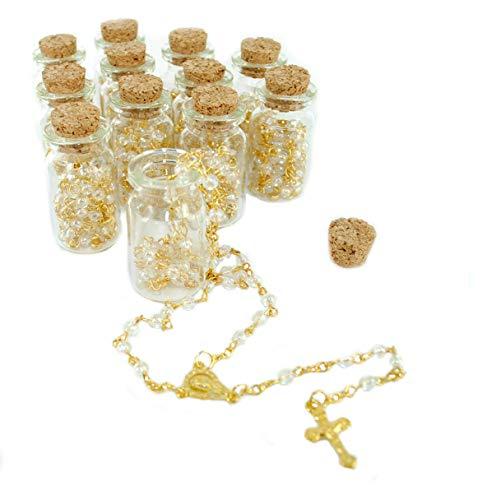 12 Rosary in Glass Jar Bottle Beads (Gold) Catholic Crucifix Necklace Jesus Christ