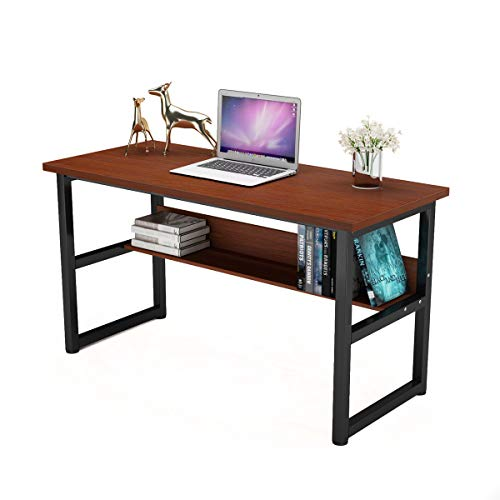 Computer Desk With Bookcase - Computer Desk with Bookself Office Desk Workstation 2 in 1 Desk and Bookcase PC Laptop Study Table for Home Office (55