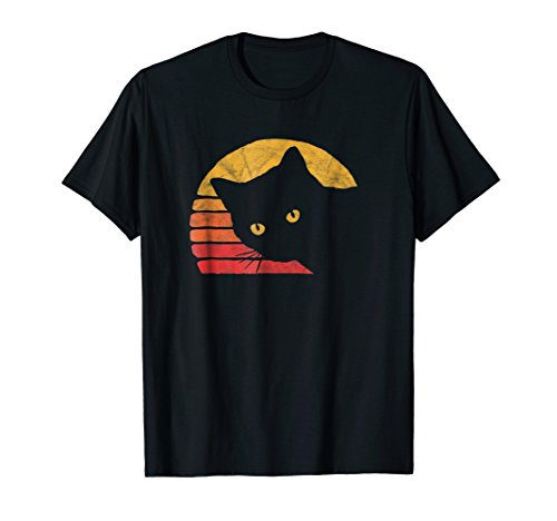 Black T-shirt Design Funny - Vintage Eighties Style Cat T-Shirt - Retro Distressed Design