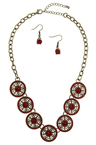 GlitZ Finery ROUND DETAILED RHINESTONE PAVE ORNATE NECKLACE SET (GB/RED)