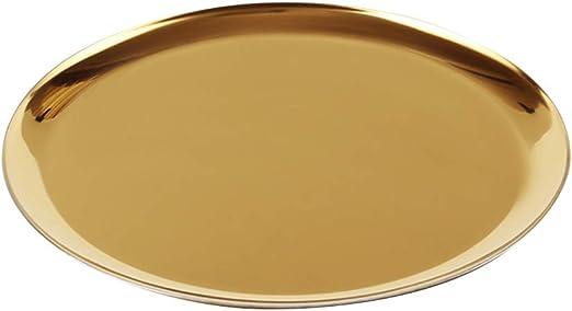 Round Metal Jewelry Display Tray Kitchen Tableware Storage Plates Gradient
