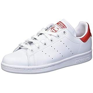 adidas Originals Men's Stan Smith Sneaker, White/White/Lush red, 3.5