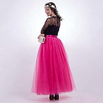 NVDKHXG 7 Capas Faldas largas Falda de Tul de Verano Vestido de ...