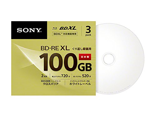 3 Sony Blu Ray 100 GB BD-Re BDXL 3D Bluray Triple Layer Bluray Printable Disc 3BNE3VCPS2