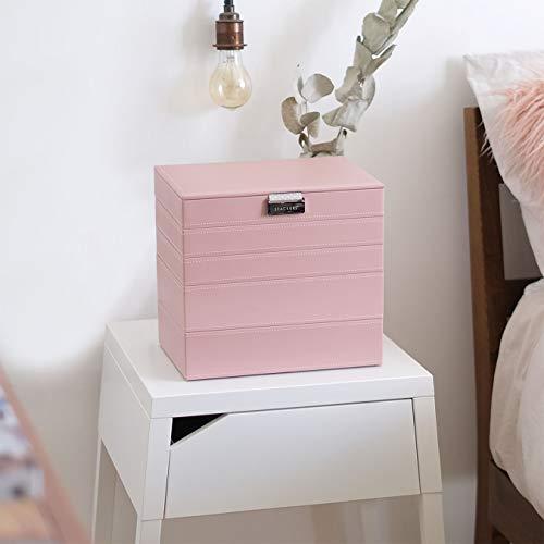 Stackers Classic Size Joyas Conjunto Organizador De 5 Cuadro Rosa Con Forro De Punto Gris