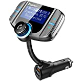 Bluetooth FM Transmitter, ESOLOM in-Car FM Radio Adapter Hands-Free Calling, Car Charger, MP3 Player Car Kits Dual USB Port Charger 5V/2.4A&1A, Support Voltage Detection (Black)