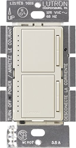 Lutron MA-L3L3-LA Maestro 300 Watt (top)/300 Watt (bottom) Single Pole Dual Dimmer, Light Almond