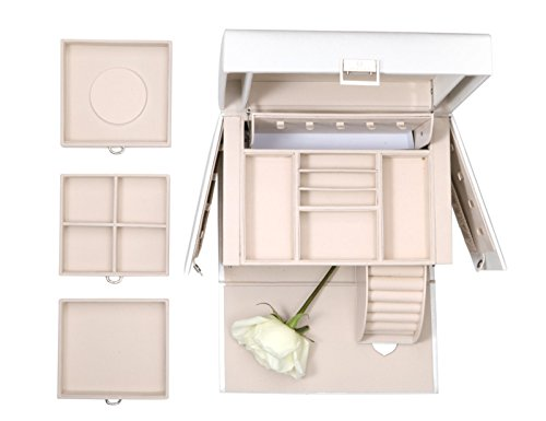 Vlando Faux Leather Jewelry Box Organizer, 6 Colors Available, Vintage Gift Case (White) by Vlando (Image #1)