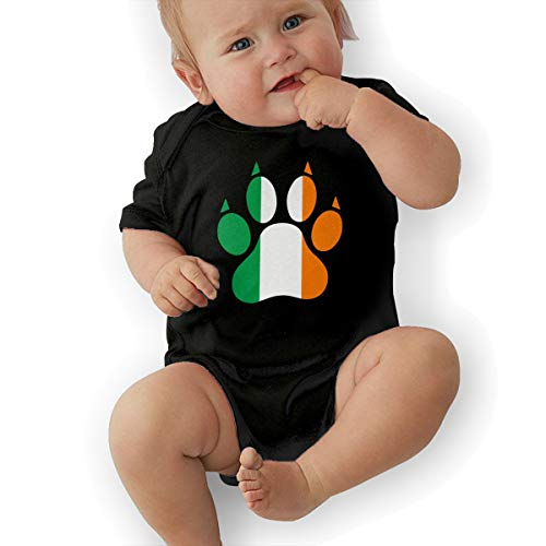 Short Sleeve Cotton Bodysuit for Baby Boys and Girls, Cute Ireland Dog Paw Sleepwear Black -
